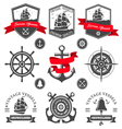 Set of vintage nautical labels and icons vector image vector image