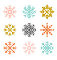 set snowflakes new year and winter vector image vector image