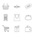 Shop icons set outline style vector image vector image