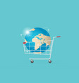shopping cart with world globe digital online vector image