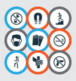 sign icons set with dust mask no smoking danger vector image