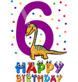sixth birthday cartoon design vector image vector image