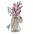 spring flowers in vase continuous line art vector image