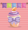 sweet and delicious cupcake with bowtie birthday vector image vector image