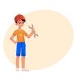 Teenage boy in orange builder helmet holding a vector image vector image