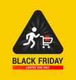 triangular sign with a little man rolling a cart vector image vector image