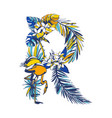 tropical floral summer letter r hand drawn vector image vector image