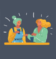two women chatting smiling vector image vector image