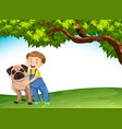 a boy and dog in nature vector image vector image