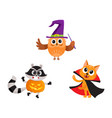at owl raccoon characters in halloween costumes vector image vector image