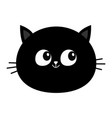 black cat head round face icon cute cartoon vector image vector image