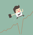 businessman jumps over gap in growth chart vector image vector image