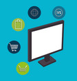 buy on line with monitor computer vector image vector image