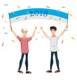 celebration of a new year people with banner vector image vector image
