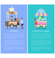 coffee shop and cotton candy kiosk cute templates vector image vector image