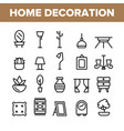 collection home decoration items icons set vector image vector image