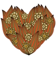 Colored heart in zentangle style leaves and vector image