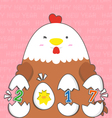 cute big fat white hen 2017 vector image vector image
