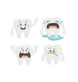 cute collection of cartoon tooth chatacters for vector image