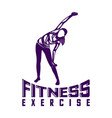 design woman fitness exercise logo gymnastics vector image