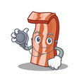 doctor bacon character cartoon style vector image vector image