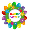 easter frame with rainbow color eggs vector image