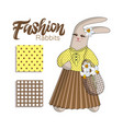 elegant fashion bunny rabit in pleated skirt vector image