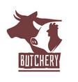 emblems butcher butchery shop labels domestic vector image vector image