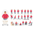 fat man action poses set cartoon body positive vector image