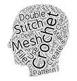 filet crochet text background wordcloud concept vector image vector image