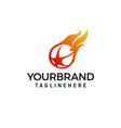 flaming ball star logo design template vector image