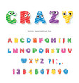 funny kids font with eyes cartoon glossy colorful vector image vector image