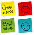 Good bad news notes vector image vector image