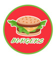hamburger food or restaurant icon on round red vector image