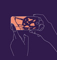 hand phone broken glass blue vector image vector image