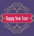 Happy New Year monograms Festive Card Lineart vector image vector image