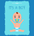 its a boy poster toddler infant in diaper pacifier vector image vector image