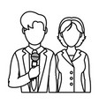 line man and woman partner reporters information vector image vector image