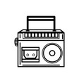 line radio equipment to listen music with cassette vector image vector image