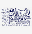 mega collection of hand drawn social media vector image