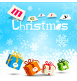 merry christmas design with snowflakes on blue vector image vector image