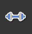 paper sticker on stylish background dumbbell vector image vector image