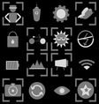 Photography icons on black background vector image vector image