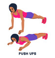 push ups sport exersice silhouettes of woman vector image