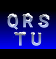 q r s t u letters with snow caps vector image