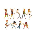 rock artists characters set young musicians vector image vector image
