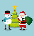 santa claus with snowman and pine tree vector image vector image