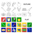 school and education flat icons in set collection vector image vector image