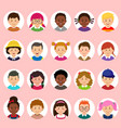 set of kids faces avatars children heads vector image
