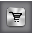 Shop cart icon - metal app button vector image vector image